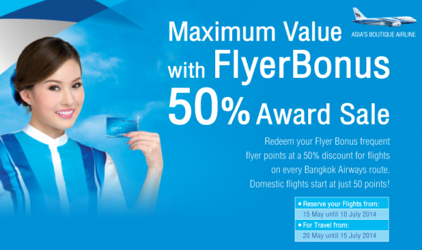 Bangkok Airways FlyerBonus Award Sale Summer 2014