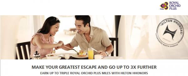 Hilton HHonors Thai Airways Royal Orchid Up To Triple Miles April 1 June 30 2014