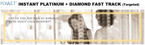 Hyatt Gold Passport Instant Platinum + Diamond Fast Track Offer