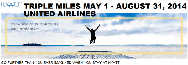 Hyatt Gold Passport Triple United Airlines Miles May 1 August 31 2014 Table