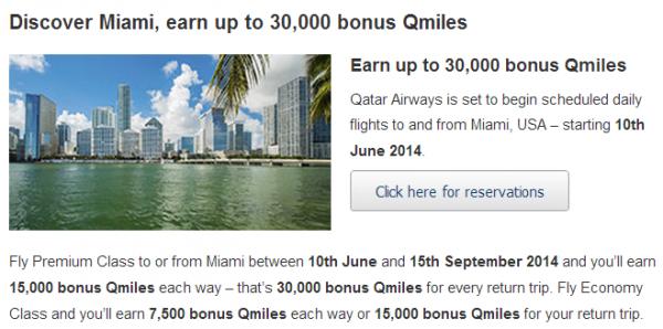 Qatar Airways Privilege Club Miami Offer