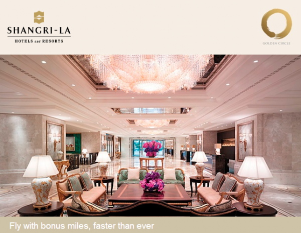 Shangri-la Golden Circle Points To Miles 25 Percent Conversion Bonus April 1 June 30 2014