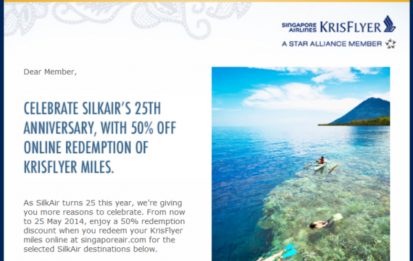Singapore Airlines KrisFlyer 50 Percent Award Discount SilkAir Email