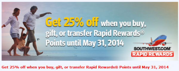 Southwest Airlines Buy Gift Transfer Points 25 Percent Bonus April May 2014