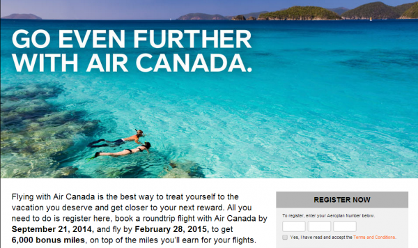 Air Canada Aeroplan 6,000 Bonus Miles