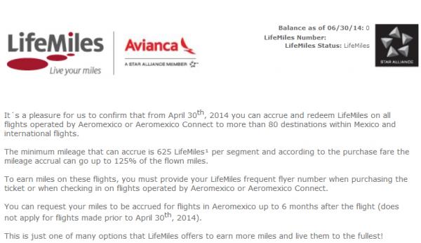 Avianca LifeMiles AeroMexico
