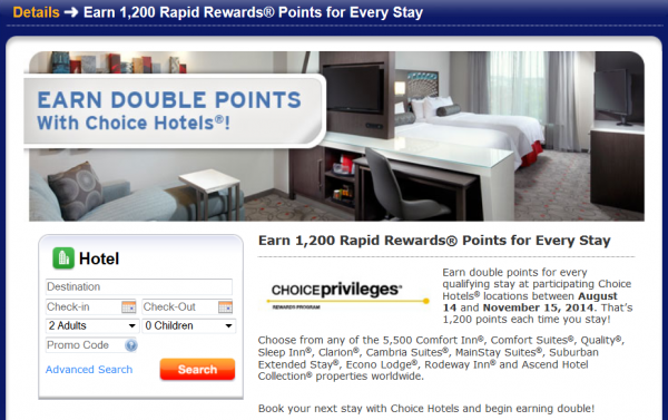 Choice Hotels Southwest Airlines Double Rapid Rewards Points Promo Fall 2014