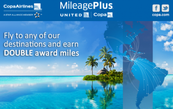 Copa Airlines Double MileagePlus Miles October 1 - December 31, 2014
