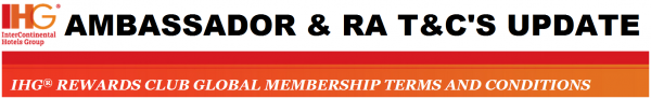 IHG Rewards Club Ambassador Terms and Conditions Changes