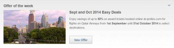 Qatar Airways Easy Deals September October