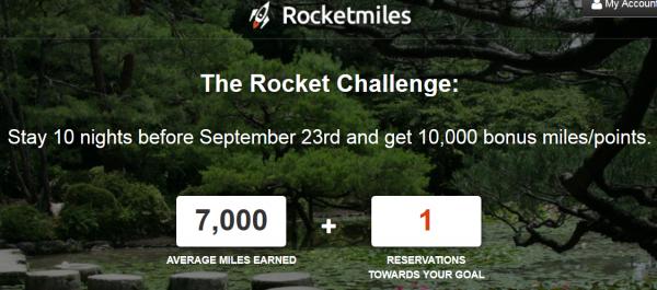 RocketMiles 10,000 Bonus Miles For 10 Nights Before September 23, 2014