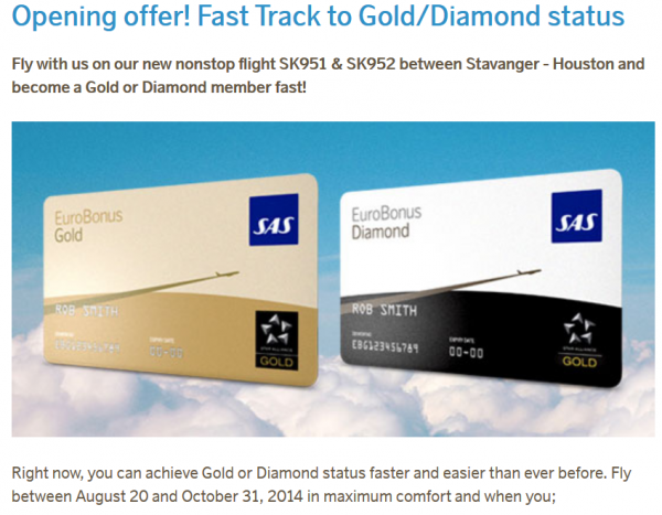 SAS Eurobonus Gold & Diamond Fast Track Offer
