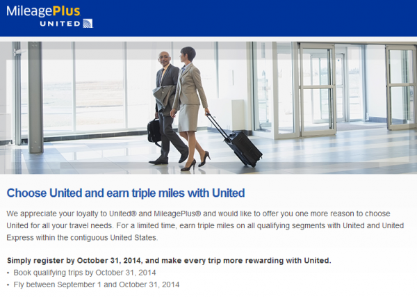 United Airlines Triple MileagePlus Miles Offer August 2014