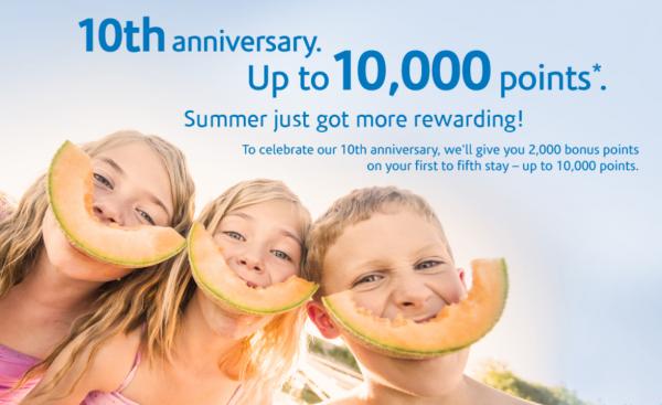 Wyndham Rewards 10th Anniversary 10,000 Bonus Points July 31 October 31 2014