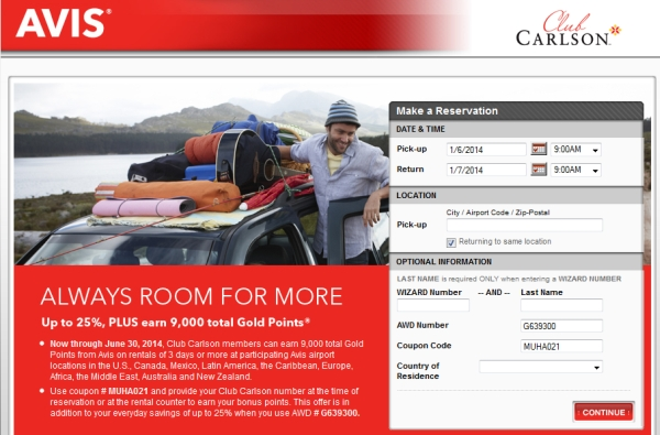 club-carlson-avis-9000-points-offer