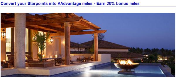 American Airlines US Airways SPG Starpoints 20 Percent Conversion Bonus July 2014