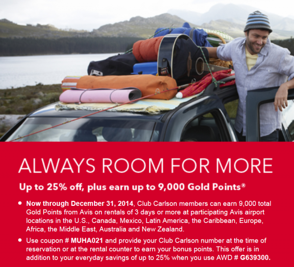 Avis Club Carlson Up To 9,000 Gold Points December 31 2014