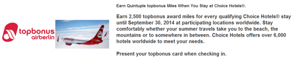 Choice Privileges Airberlin Topbonus Quintuple Miles July 1 - September 30 2014