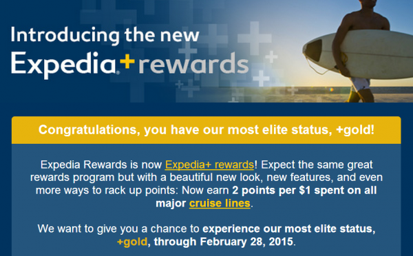 Expedia+ rewards Gold Member Email