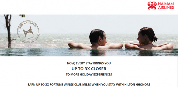 Hilton HHonors Hainan Airlines Fortune Wings Double Triple Miles July 1 September 20 2014