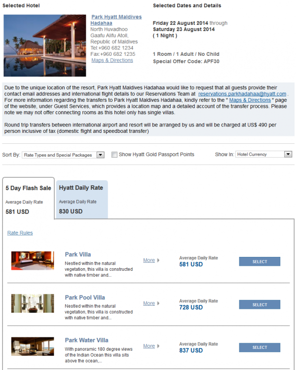 "Hyatt Asia ""Window Of Opportunity"" Up To 30 Off 5-Day Flash Sale For Stays July 16 – August 31, 2014 Park Hyatt Maldives"