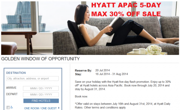 "Hyatt Asia ""Window Of Opportunity"" Up To 30 Off 5-Day Flash Sale For Stays July 16 – August 31, 2014"