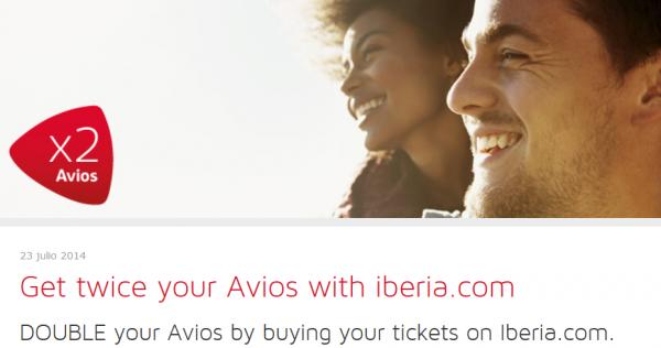 Iberia Plus Double Avios Offer