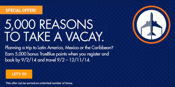JetBlue TrueBlue 5,000 Bonus Points Offer