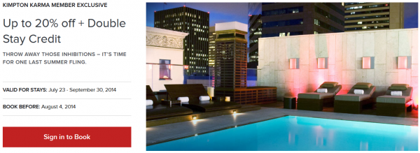 Kimpton Karma Rewards Double Stay Credit & Up To 20 Percent Off