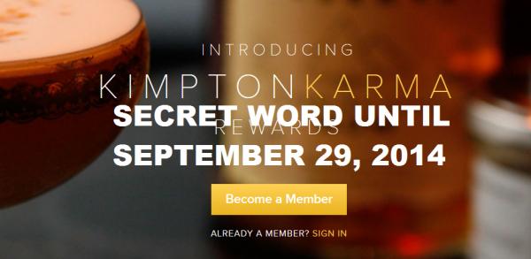 Kimpton Karma Rewards Secret Word
