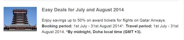 Qatar Airways July & August 2014 Easy Deals