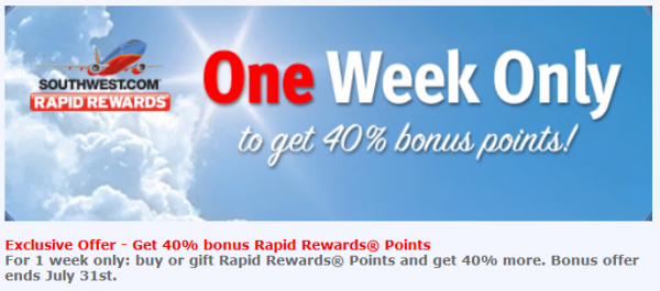 Southwest Airlines Buy Gift Rapid Rewards June 2014 Promo