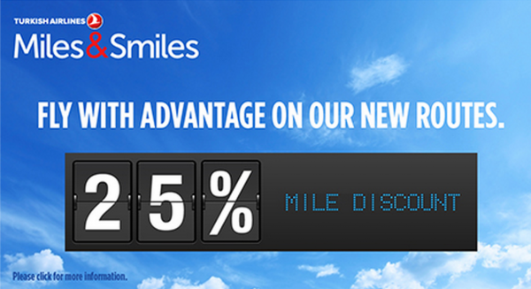 Turkish Airlines Miles&Smiles New Routes 25 Percent Off Discount July 15 December 31 2014
