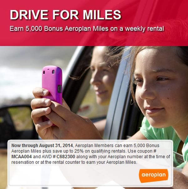 Avis Aeroplan 5000 Bonus Miles