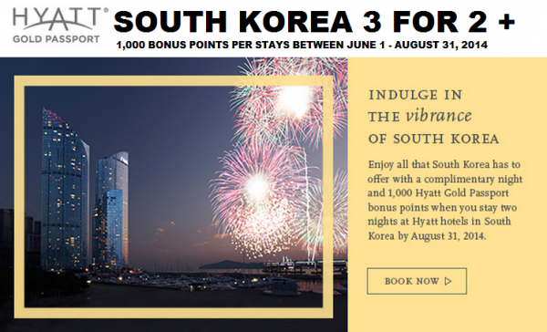 Hyatt Gold Passport south Korea Offer