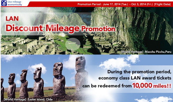 Japan Airlines (JAL) LAN Award Ticket Promotion June 17 – October 3 2014