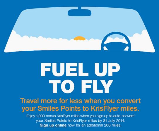 Singapore Airlines KrisFlyer Esso 1200 Free Miles