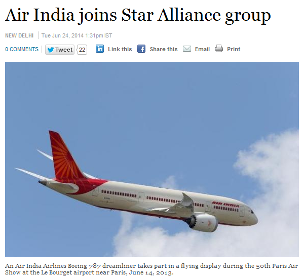 Star Alliance Air India Reuters