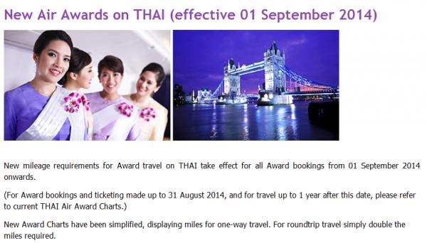 Thai Airways Royal Orchid Plus Mileage Requirement Change