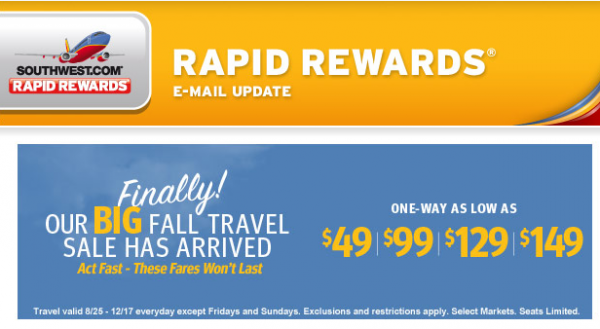 US Fall Travel Sale