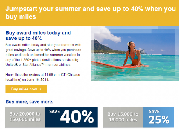 United Airlines Buy Miles June 2014