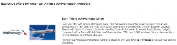 Choice Privileges American Airlines Triple Miles Offer Spring 2014