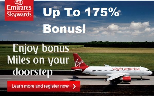 Emirates Skywards Virgin America Up To 175 Bonus U