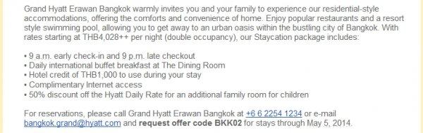 Hyatt Grand Hyatt Bangkok Erewan Offer Body