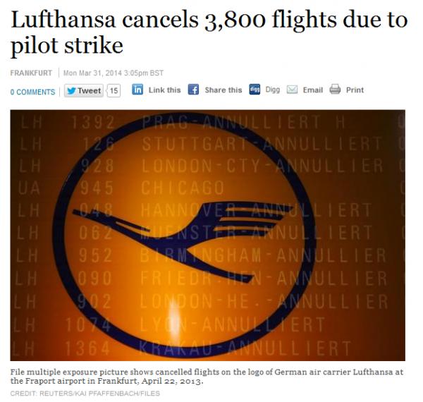 Lufthansa Pilot Strike April 2014