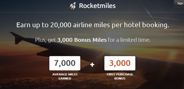 RocketMiles Generic Booking Bonus 3,000 Miles For First Booking