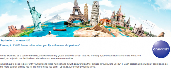 US Airways Oneworld Alliance Bonus Miles Promotion