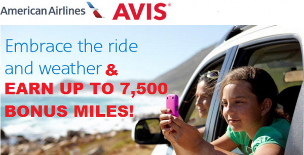 Avis American Airlines AAdvantage Up To 7,500 Bonus Miles Offer