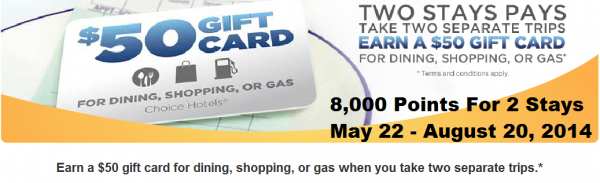Choice Privileges 8,000 Points For Every Two Stays May 22 August 20 2014