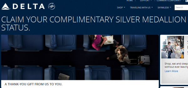 Delta SkyMiles Silver Gold Platinum Promotion